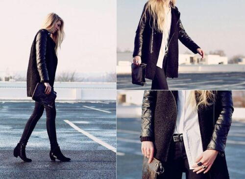 Bloggers Mohair Quilted Medium Combined Zara Coat M Sleeves Black Leather Size P0qZHHx1