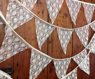 Traditional Ivory rose lace wedding bunting sold per meter with natural tape
