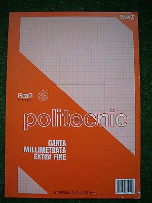 Realistico Carta Millimetrata Extra Fine Politecnic - 10 Fogli - 210 X 297 Mm Cwr Art. 1040 Lustro Incantevole