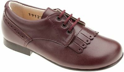 Beberlis Boys 19127 Burgundy Kilted Oxford Dress Shoe