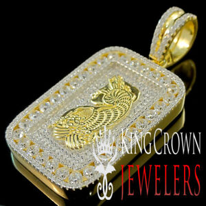 Details about Mens 10K Yellow Gold Over Sterling Silver Designer Charm  Custom Diamond Pendant