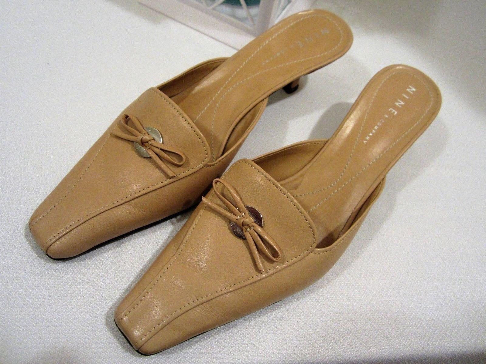 NINE & COMPANY Leather Mule Low Kitten Heel Slip-on Mule Leather sz 7.5 M Nude Tan Beige a7e130