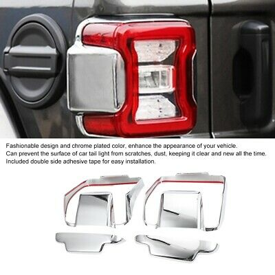 Fit For Jeep 2018 2019 Wrangler Tail Light Lamp Molding Cover Trims Chrome ABS