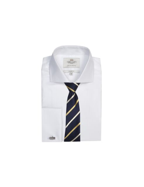 a702803887a Hawes   Curtis Mens Formal Herringbone Classic Fit Shirt Double Cuff Easy  Iron