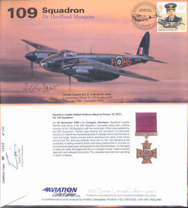 AV600-WWII-109-Sqn-Mosquito-cover-hand-signed-WW2-RAF-Pathfinder-CO-Law-DSO-DFC