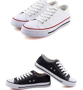 Mens-Canvas-Trainers-Athletic-Shoes-Classic-Sneaker-Flat-Lace-Up-Plimsolls-Sport