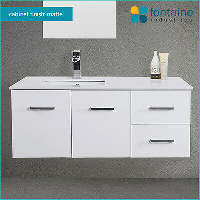 Bathroom Vanity 1200 Matte Wall Hung Undermount Recessed Basin Stone Top SALE