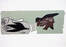 """GEORGES BRAQUE ltd ed vintage mounted lithograph, Mourlot, 1963, 14 x 11"""" GB060"""