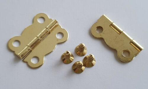 2x Metal GOLD Hinges Furniture Door Wood Craft Models Doll House Screws
