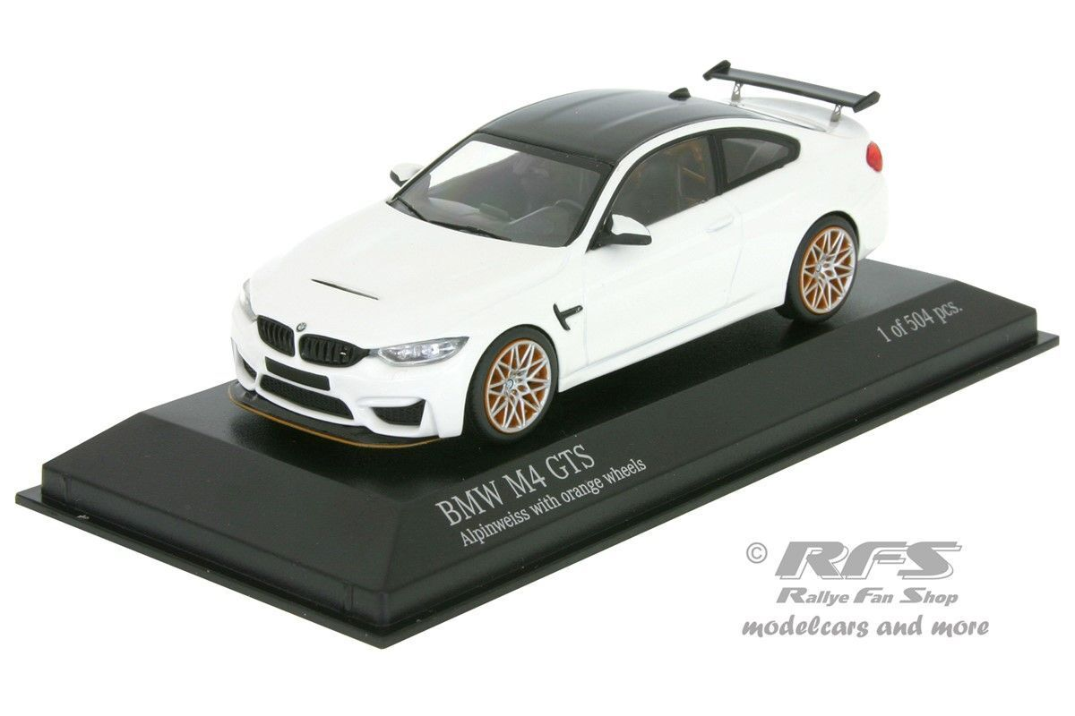BMW m4 GTS 2016 Blanc Alpinweiss avec Orange jantes 1 43 Minichamps 410025226