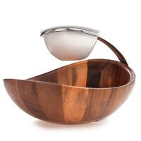 Savora 2-Tier Acacia Wood Ceramic Chip & Dip Bowl Serving Bowls Set