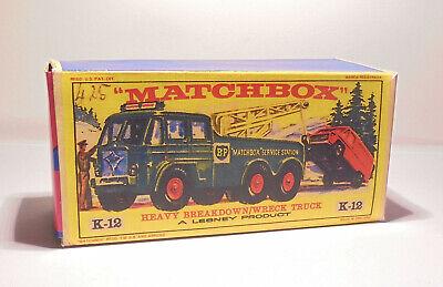 Repro Box Matchbox King Size K-12 Heavy Breakdown Wreck  Truck bunt