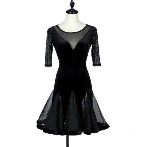 Latin Dance Dress Tango Salsa Costume Ballroom Practice Black Velvet Dress L165