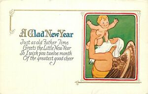 DB-Embossed-Postcard-E445-A-Glad-New-Year-Baby-Father-Time-with-Angel-Wings