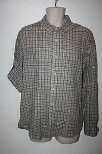 NEW-Michael-Kors-Casual-Dress-Shirt-Brown-Plaid-Roll-Up-Button-Long-Sleeve-NWT