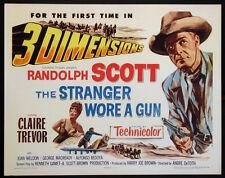 THE STRANGER WORE A GUN RANDOLPH SCOTT CLAIRE TREVOR 3-D WESTERN 1953 HALF-SHEET