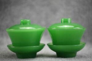 A-pair-of-beautiful-green-glass-Gaiwan-lid-bowls-teacups