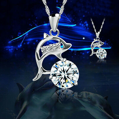 Jumping Dolphins Plated silver Rhinestone Pendant Necklace Jewelry Love Souvenir