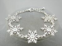 Silver Snowflake Bracelet Rhinestone Center Fashion Jewelry