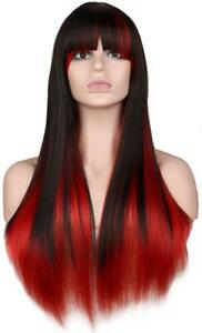 Two-tone-Synthetic-Hair-Long-Straight-Wigs-Heat-Resistant-Women-Cosplay-Costumes