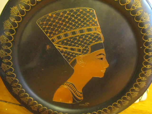 Vintage Egyptian Nefertiti hand made copper wall decor plaque