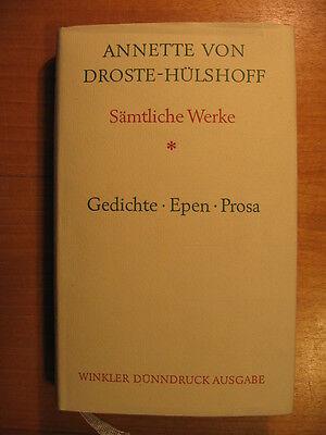 Annette Von Droste Hülshoff Sämtliche Werke 1 Gedichte Epen Dramen Winkler Ebay