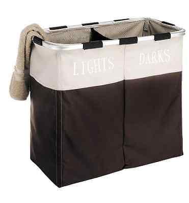 Double Laundry Hamper Washing Basket Clothes Storage Bin Foldable Sorter Bag