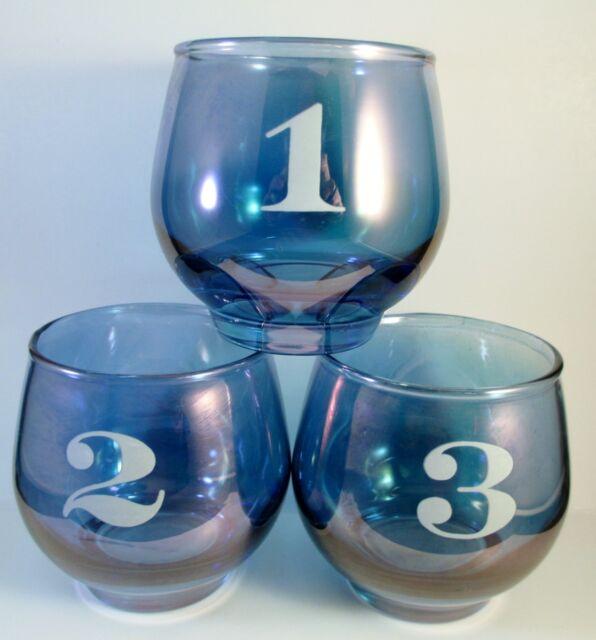 Old Smugglers Scotch Tasting Set Libbey Glass Blue Barware Vintage
