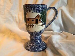 COOKS-BAZAAR-GOURMET-Holly-Mountain-Lodge-14-oz-Pedestal-Coffee-Cocoa-Mug-EUC