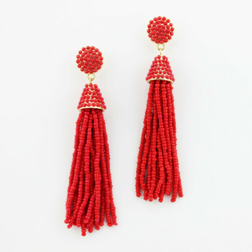 Handmade Seed Beaded Tassel Dangle Drop Statement Boucles d/'oreilles Femme FASHION JEWELRY