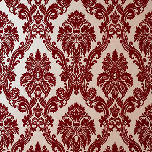 Image Is Loading Exclusive Casablanca Velvet Flock Red Gold Damask Wallpaper
