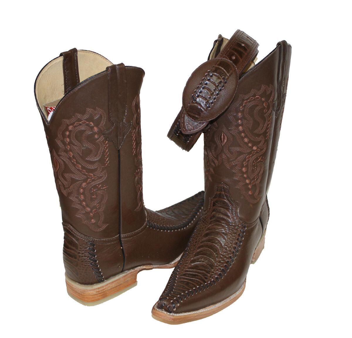 Men's Leather Crocodile Embossed Leather Cowboy Handmade Boot FREE BELT 109.99