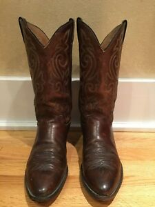 Justin Boots Cowboy 2253 Leather Round Toe Apache Brown 10 1 2 D Western Ebay