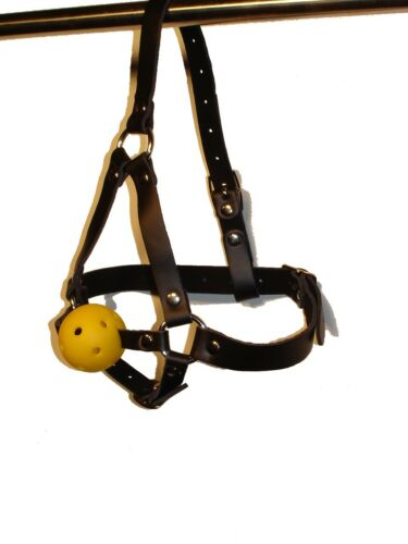 Yellow BALL GAG with LEATHER HEAD HARNESS GB-06-YEL FREE UK DELIVERY
