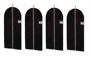 4x Housse à vêtements habits robes Housse sacs vêtements Housse Noir 150 x 60 CM  </span>