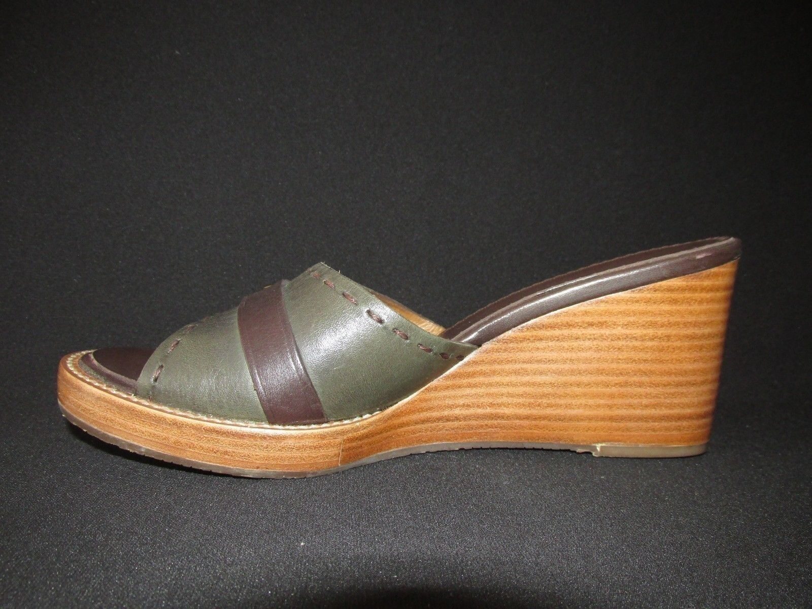 H.S. Trask & Co Brown  Green Leather Buckle US Sandals Heels Slides Wedge US Buckle 8.5N d87976