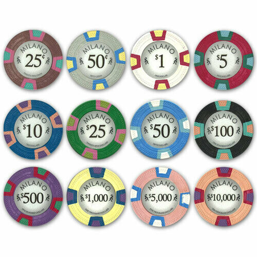 50 Light Blue $50 Milano 10g Clay Poker Chips New