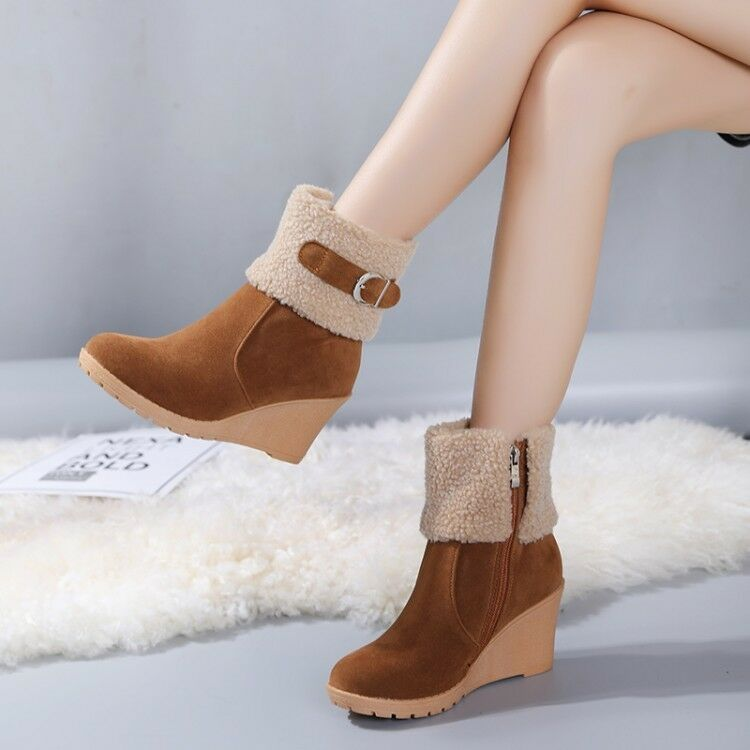 Women Stylish Round Toe Side Zip Wedge High Heels Platform Ankle Boots US 4.5-10