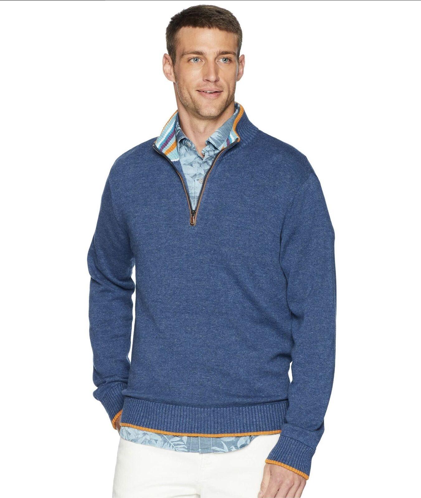 Robert Graham Men's bluee Cavalry Quarter (1 4) Zip Cotton Sweater