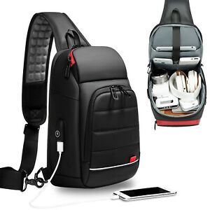 Water-Resistant-Sling-Backpack-Chest-Pack-Single-Strap-Daypack-Charging-Port