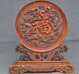 China-Boxwood-wood-Hand-carved-phoenix-bird-Dragon-Loong-statue-Screen-Byobu