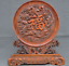China-Boxwood-wood-Hand-carved-phoenix-bird-Dragon-Loong-statue-Screen-Byobu thumbnail 1