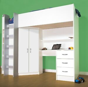 Cambridge Cabin bed High Sleeper White with Large Desk And ...