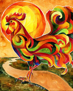 Details about fancy feathers rooster chicken art print sherry shipley