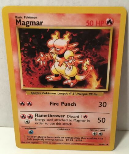 Magmar 36//102 Pokemon Card Wizards TCG Original Base Set NM Great Condition