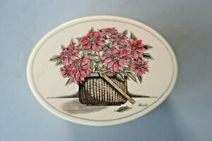 VINTAGE NANTUCKET BASKET SCRIMSHAW TRINKET JEWELRY BOX FLORAL HANDCRAFTED