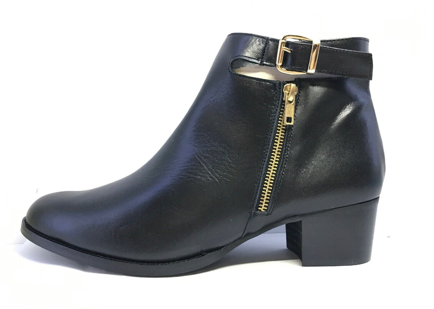 DHW Stravers Womens Black Leather Ankle Buckle Zip Fastening 1609A Boots Eu 43