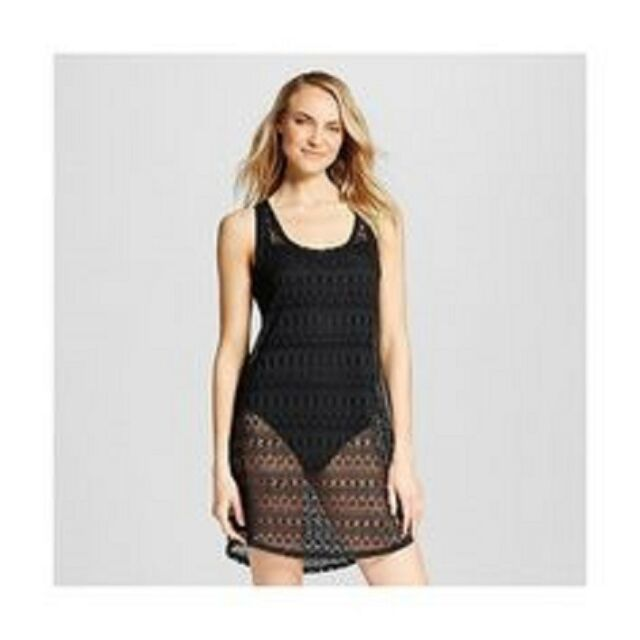 Merona Black Crochet Cover Up Tank Dress For Swimsuit Small For Sale