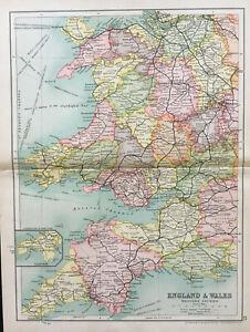 Antique-Map-Of-England-amp-Wales-Devon-Cornwall-1910-John-Bartholomew-amp-Co