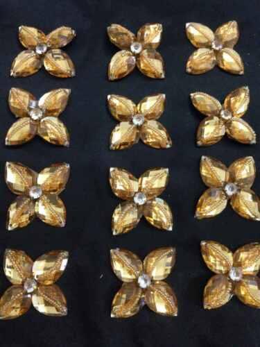 Gold Rhinestone Applique,Motif,edging,trim,sequins,beads  1 X 4cm Approx